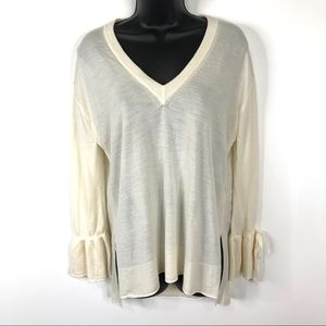 J. Crew 100% Merino Wool Bell Sleeve Sweater